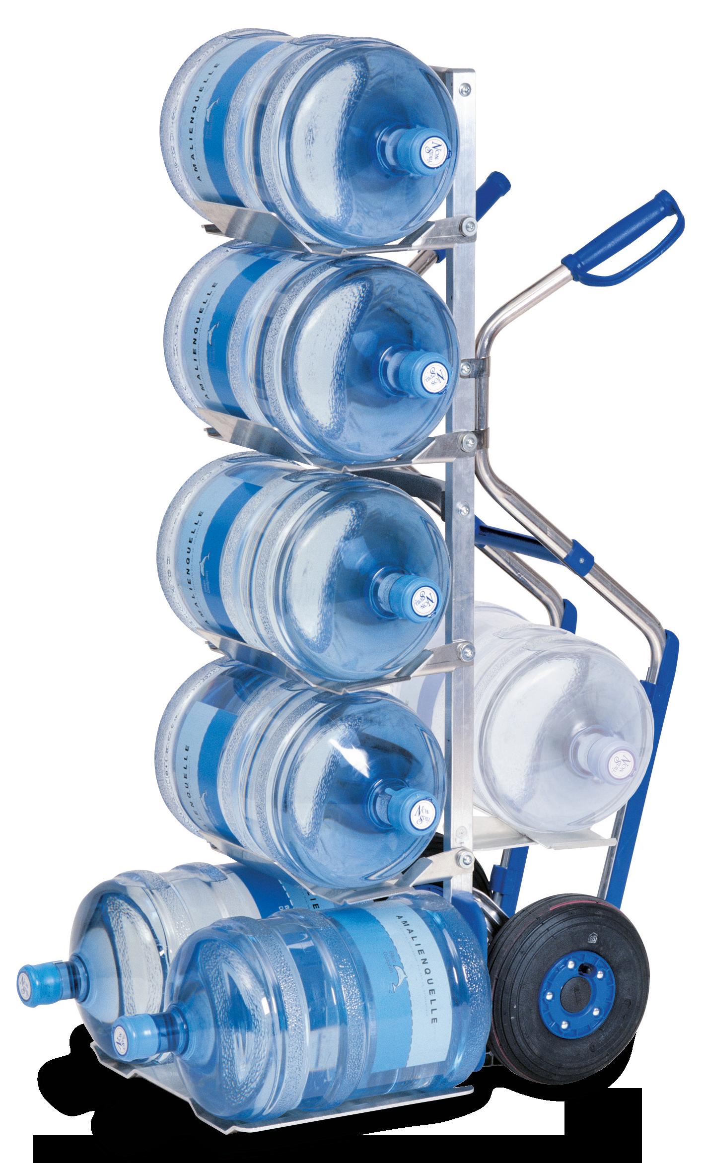 MODULKAR Transportkarren mit Pistolengriffen und Gleitkufen als Wasserflaschenkarre für 7 Flaschen