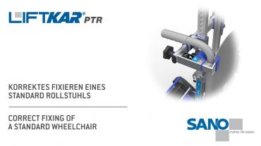 LIFTKAR PTR Treppenraupe - Fixieren eines Standard Rollstuhls